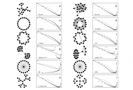 Simulations for 106 periods, using different social networks.